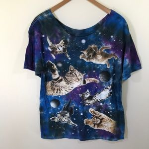 Tops - Galaxy Outer Space Cat Crop Neck T-Shirt
